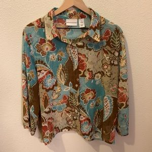 Alfred Dunner- blouse w/buttons (multicolored)
